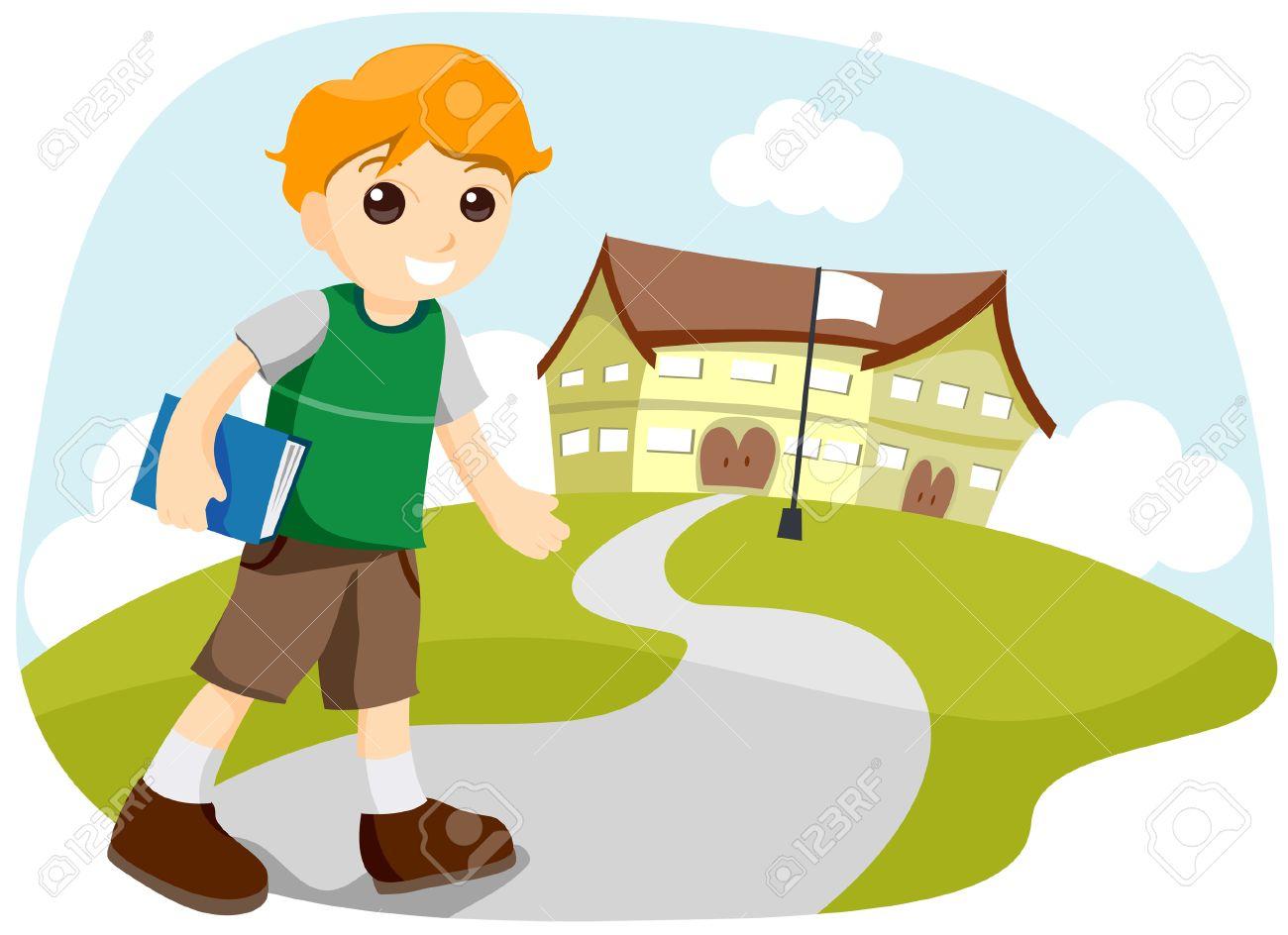 Chico Ir A La Escuela Con Saturación Camino Ilustraciones