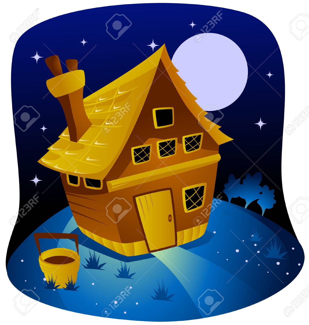 Night Farm with Clipping Path Stock Vector - 3928193