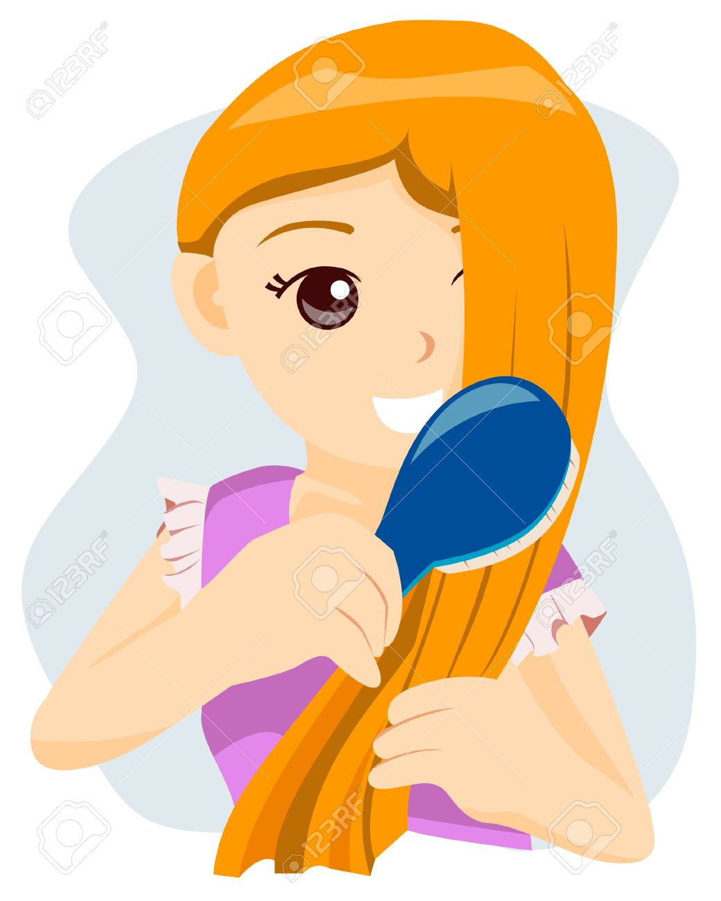 Teen Brushing her Hair with Clipping Path Stock Vector - 4127744