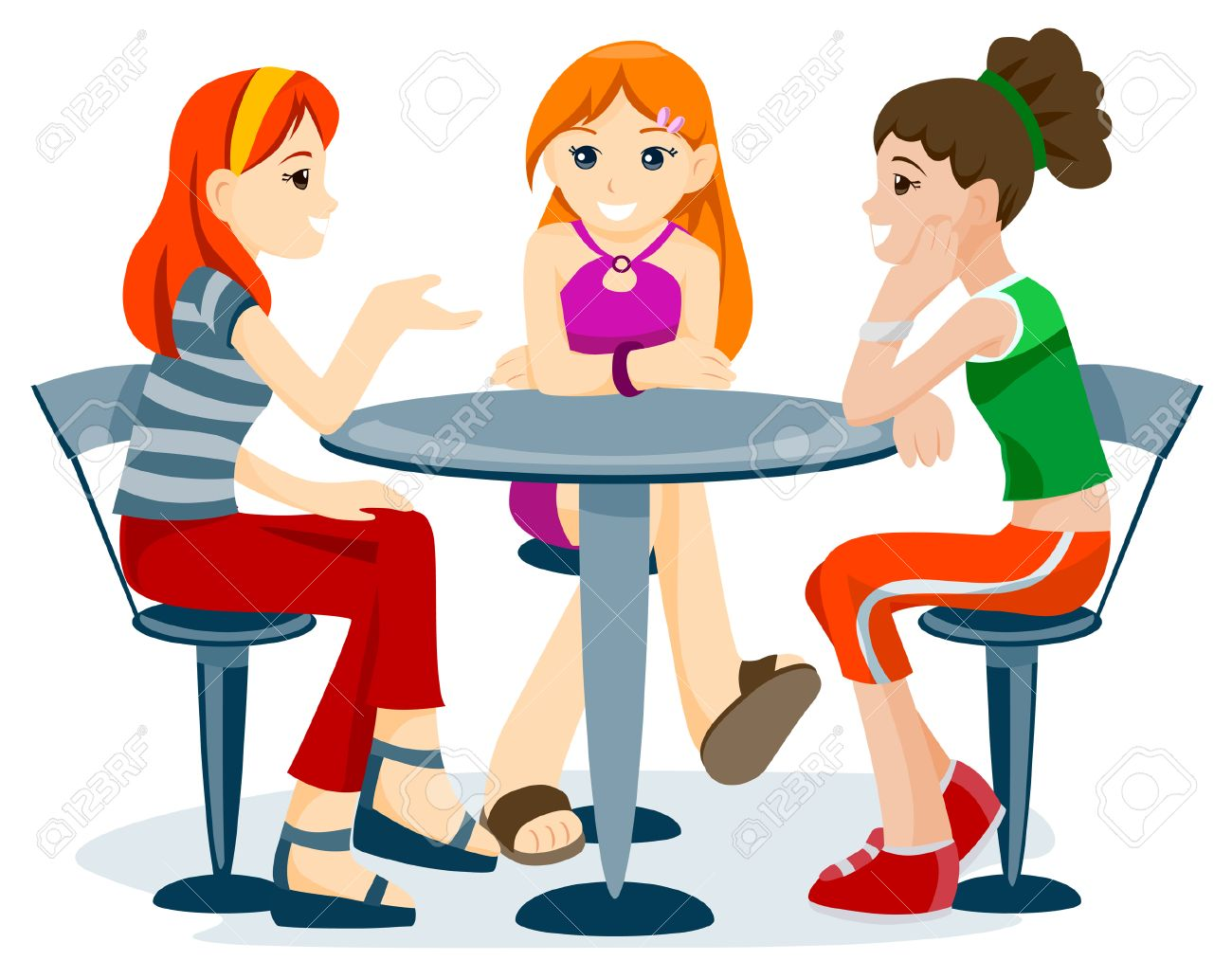 Teenage Friends with Clipping Path Stock Vector - 4127753