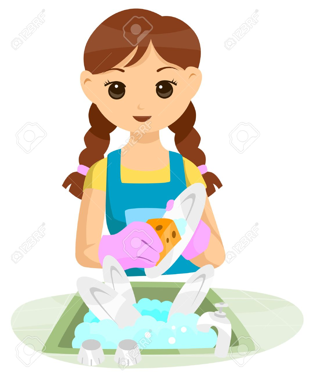 teen doing household chore with clipping path royalty free cliparts
