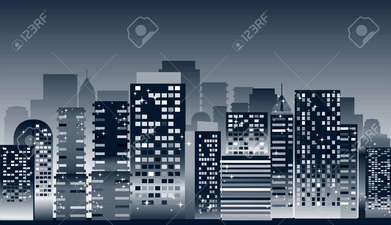 Cityscape: Buildings at Night Illustration Stock Vector - 4159644