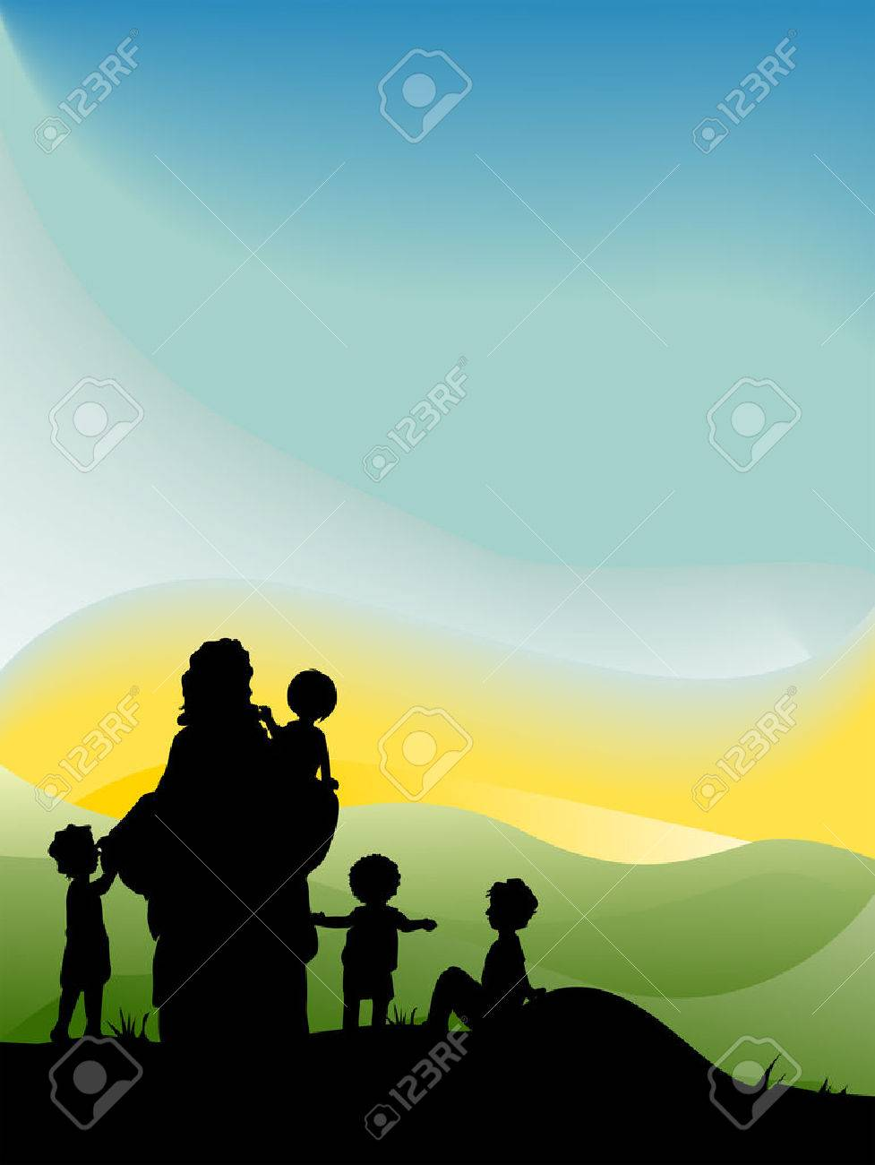 jesus with children silhouette series royalty free cliparts