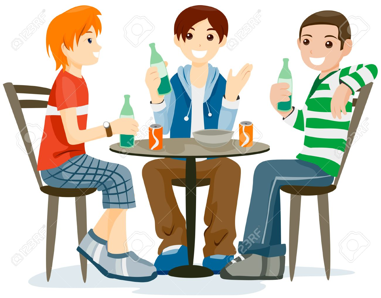 Teens Hanging Out with Clipping Path Stock Vector - 4246344
