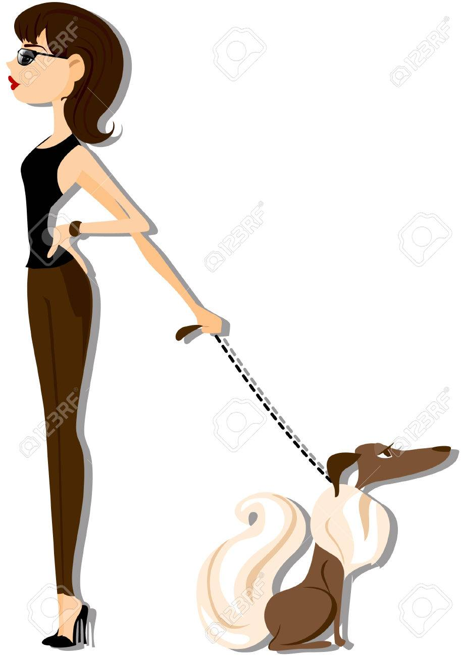 Girl with Pet Stock Vector - 4615380