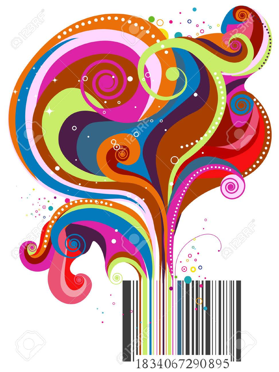 Barcode Wave Design with Clipping Path Stock Vector - 4666663