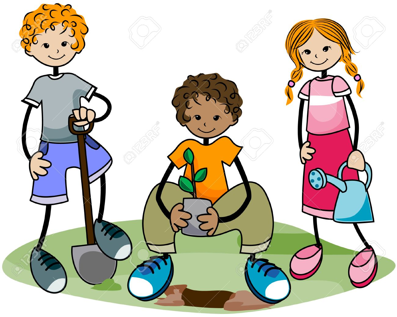 Gardening Kids With Clipping Path Stock Vector