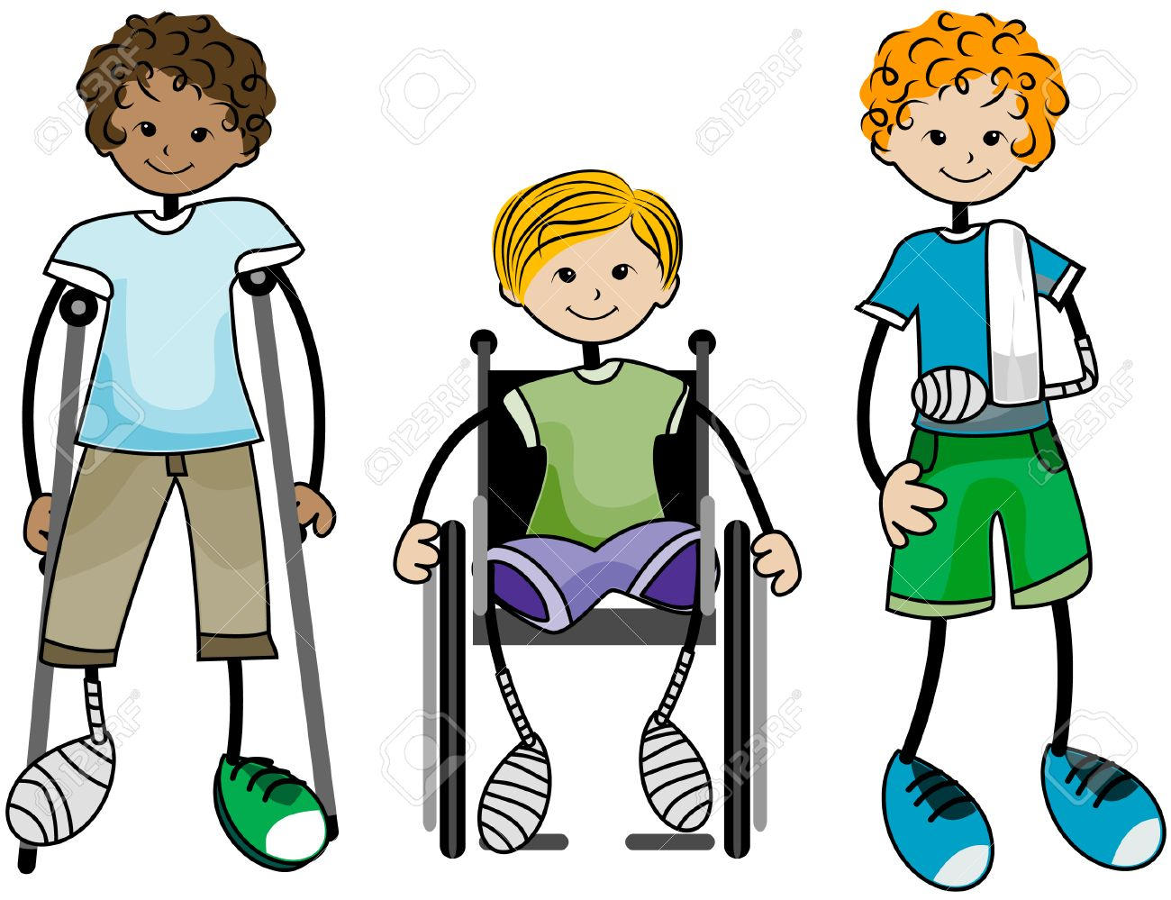 Cartoon physical therapy - Injured Kids With Clipping Path Stock Vector 4687703