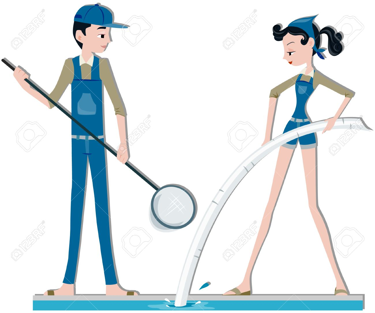 Pool Cleaning And Maintenance pool cleaners royalty free cliparts, vectors, and stock