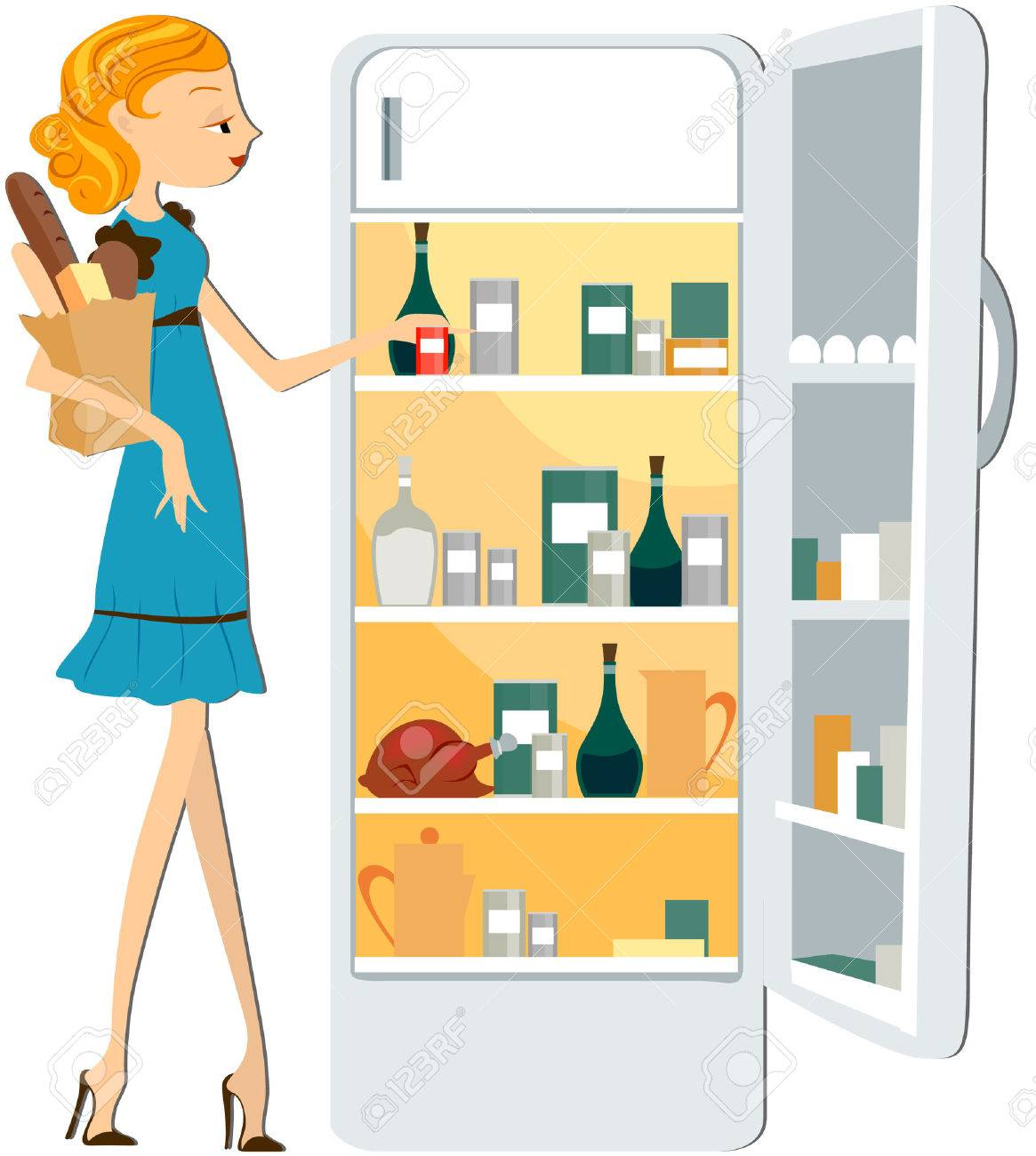 Girl Stocking the Fridge with clipping path Stock Vector - 5168808