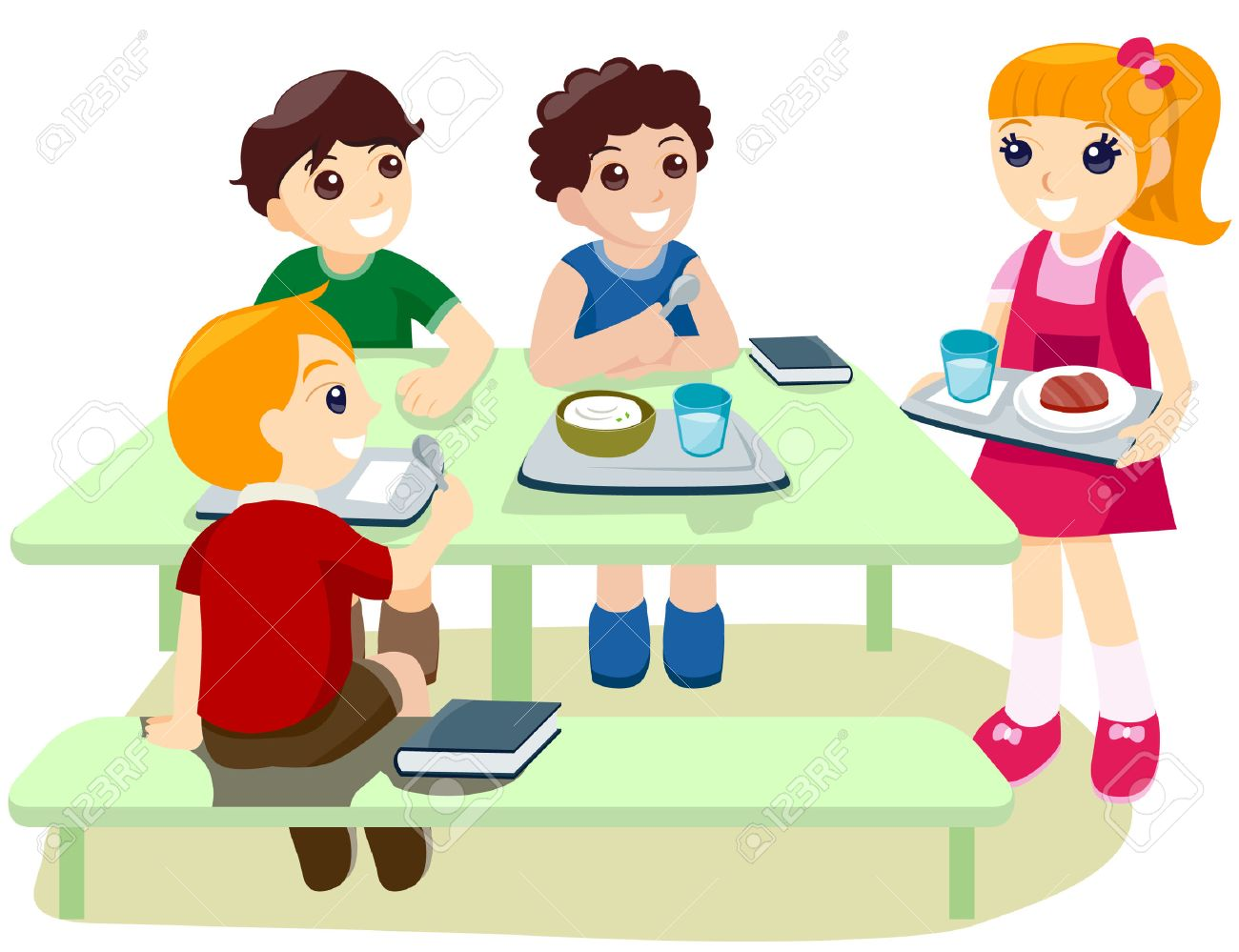kids during lunch/break time with clipping path royalty free