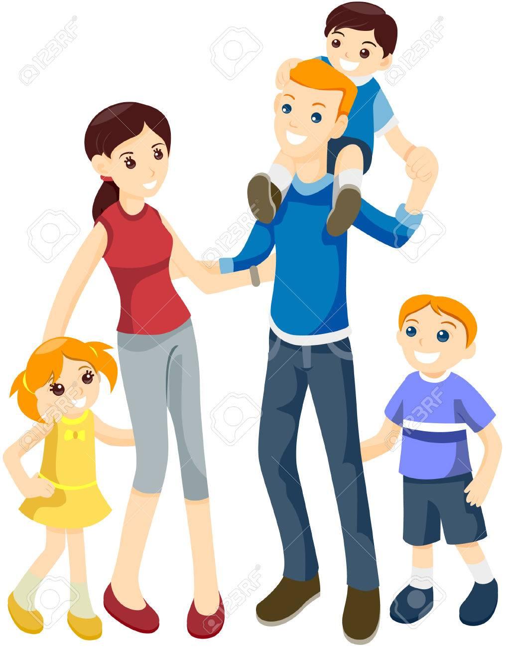 Clipart Famille famille heureuse avec le tracé de détourage clip art libres de