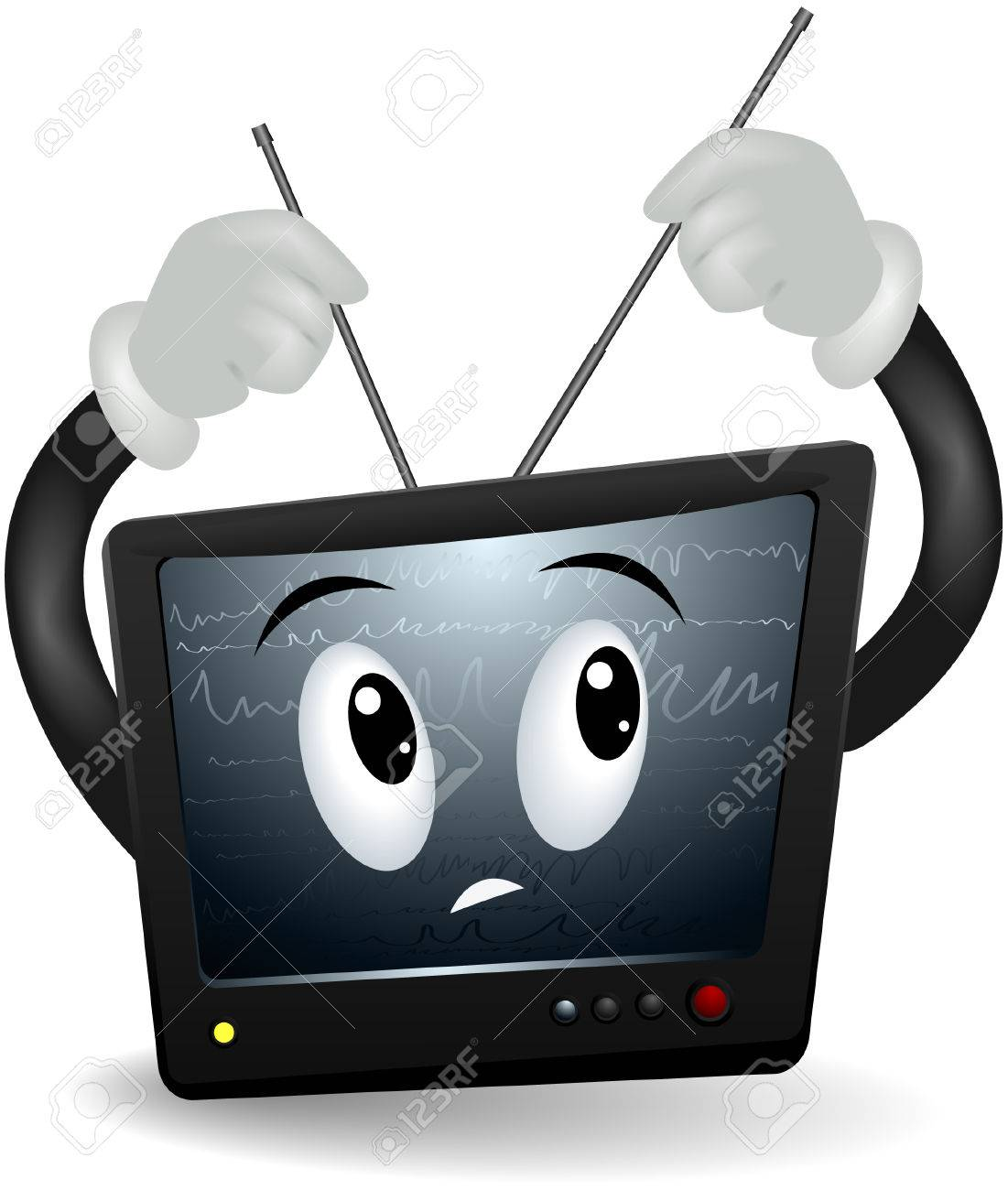 Television Looking for Signal with clipping path Stock Vector - 5171856