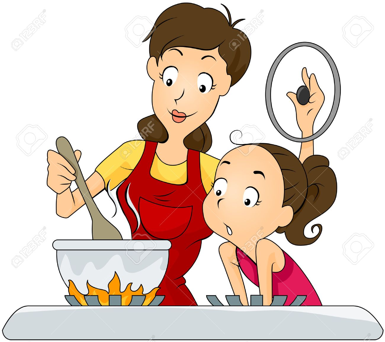 Selection of cartoons on cooking kitchens food and eating - Cooking Cartoon Mother And Daughter At The Kitchen