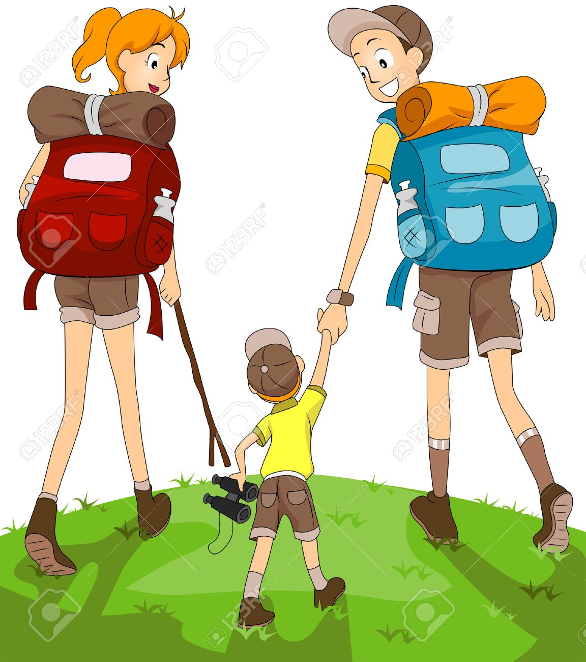 Family Hiking Stock Vector