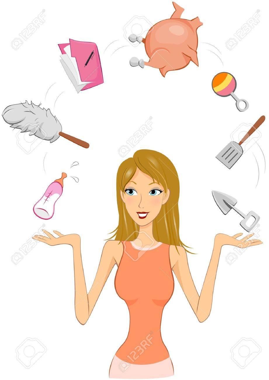 Woman juggling between different tasks - 6584917