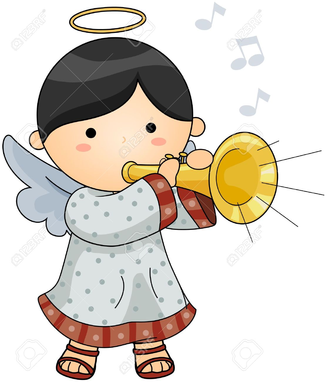 Cute Angel blowing Horn Stock Photo - 6652880