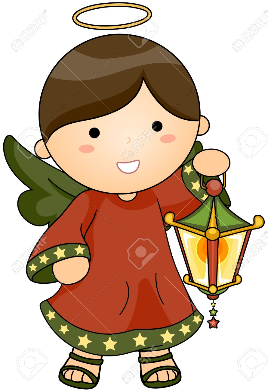 Christmas Angel Holding Lantern Stock Photo, Picture And Royalty ...