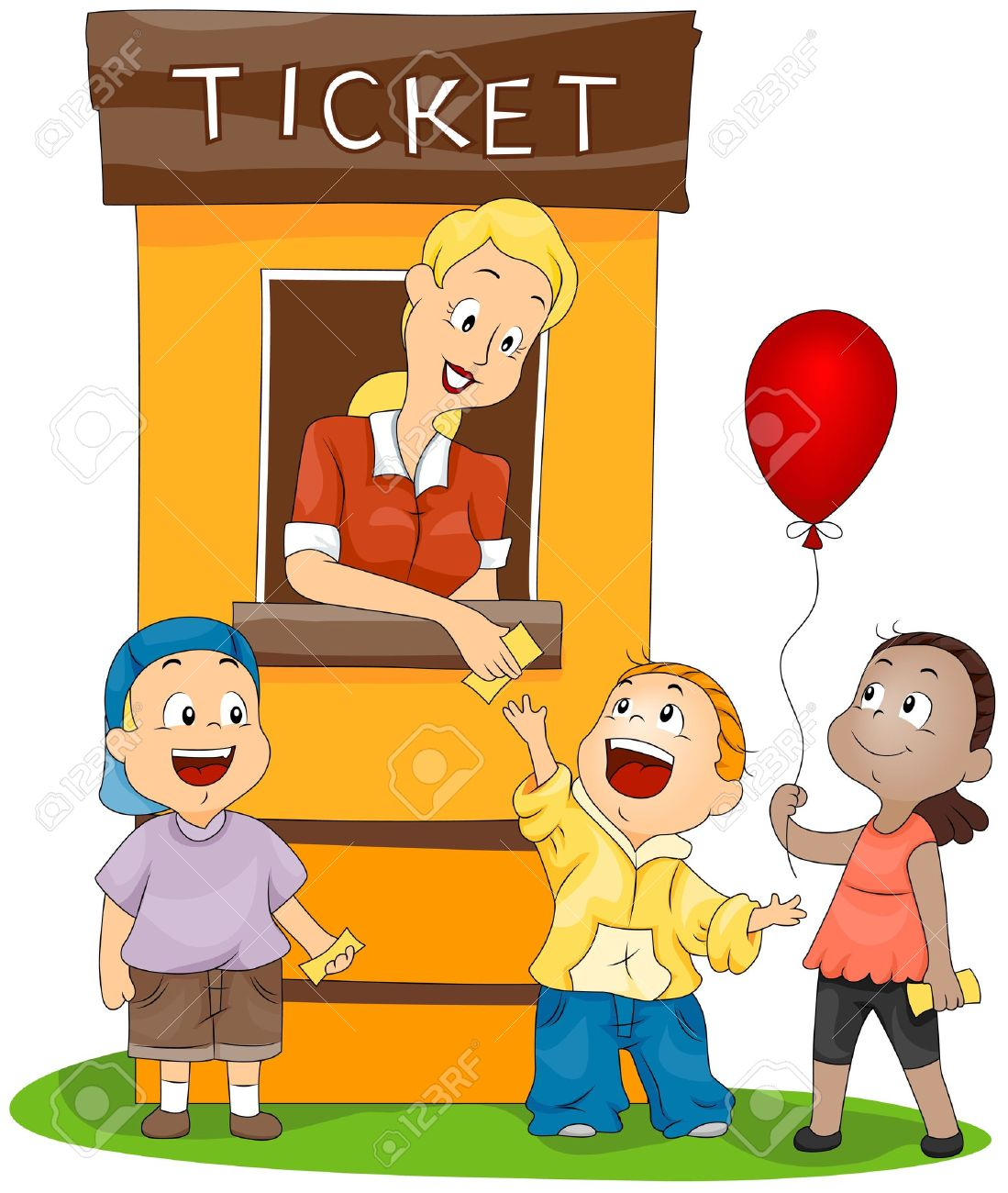 This image is a clipart picture of a women who is selling tickets of a ride to 3 children.