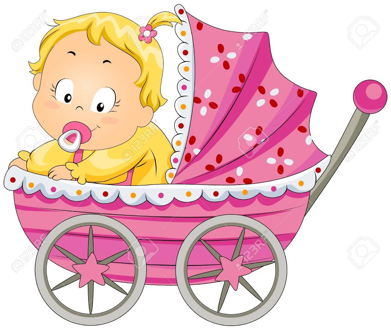 Baby Girl in Pram Stock Photo - 7213562