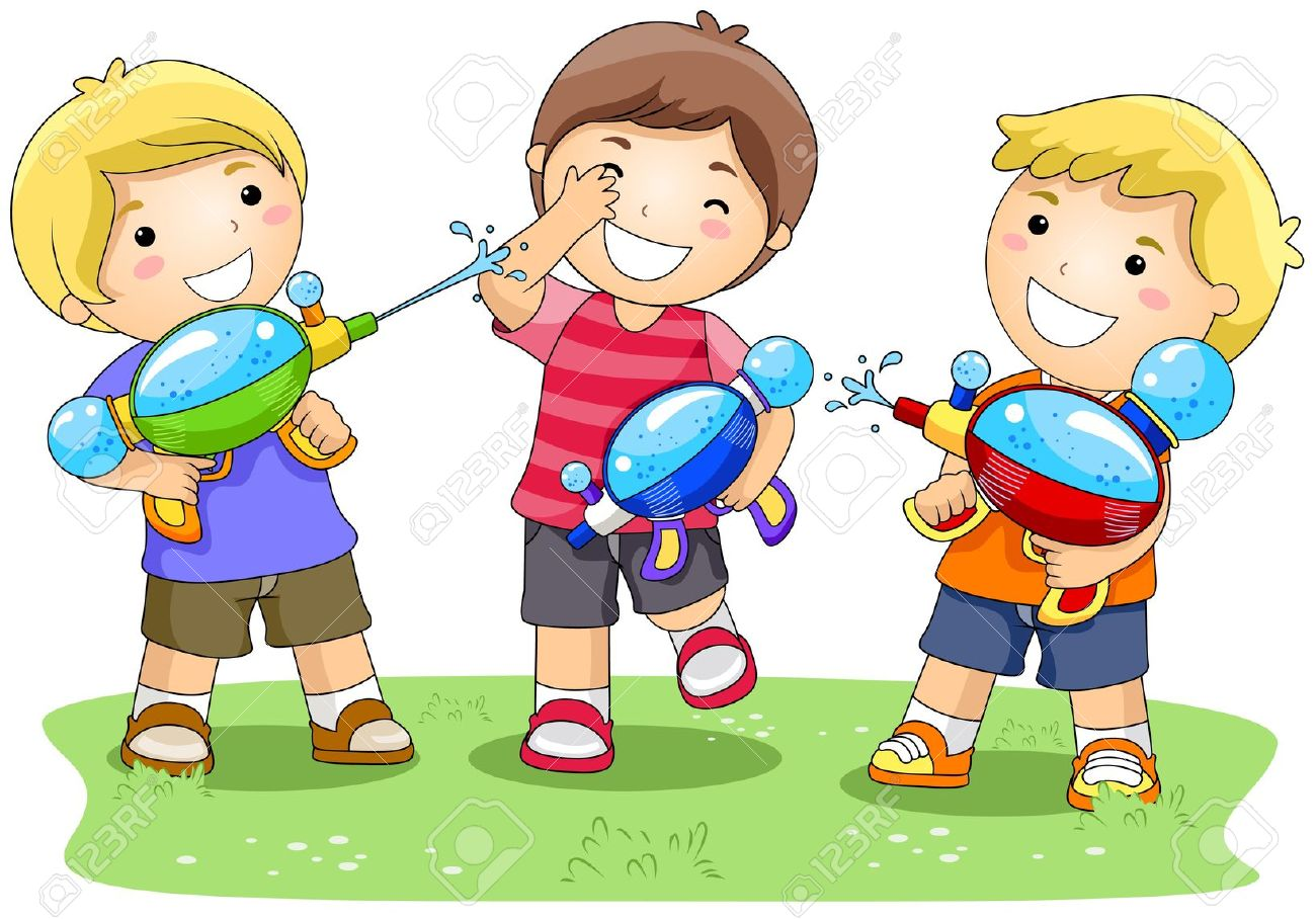 Image result for water gun fight cartoon