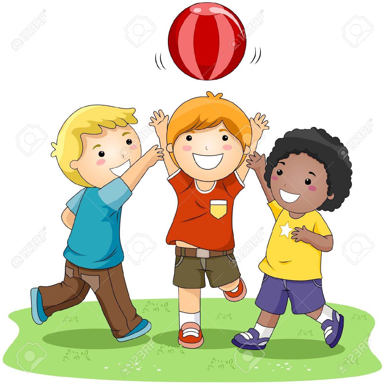 children playing ball in the park stock photo picture and royalty rh 123rf com children playing clip art free kid playing clipart black and white