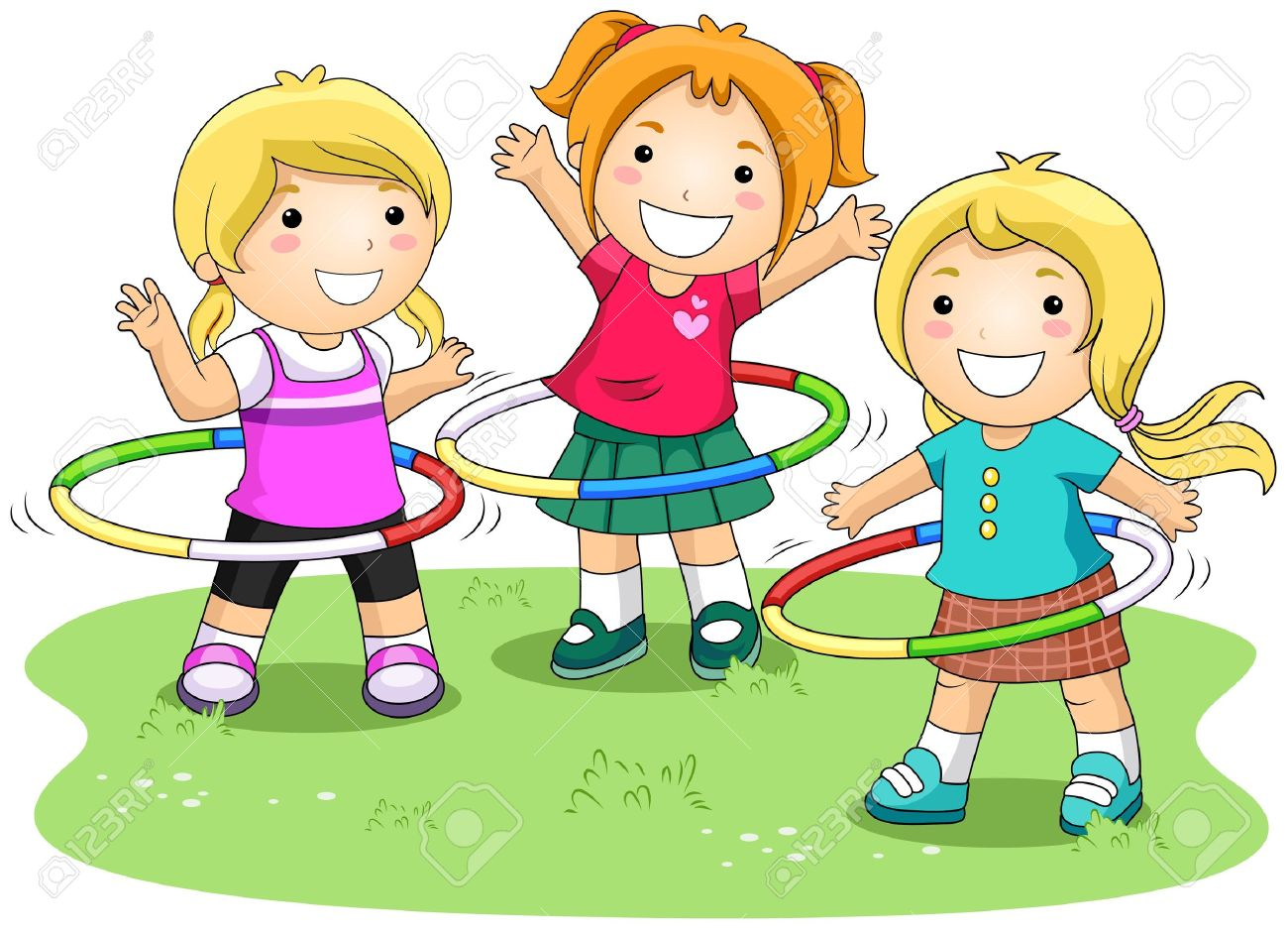 Girl Playing Clipart Girls Playing Hula Hoops