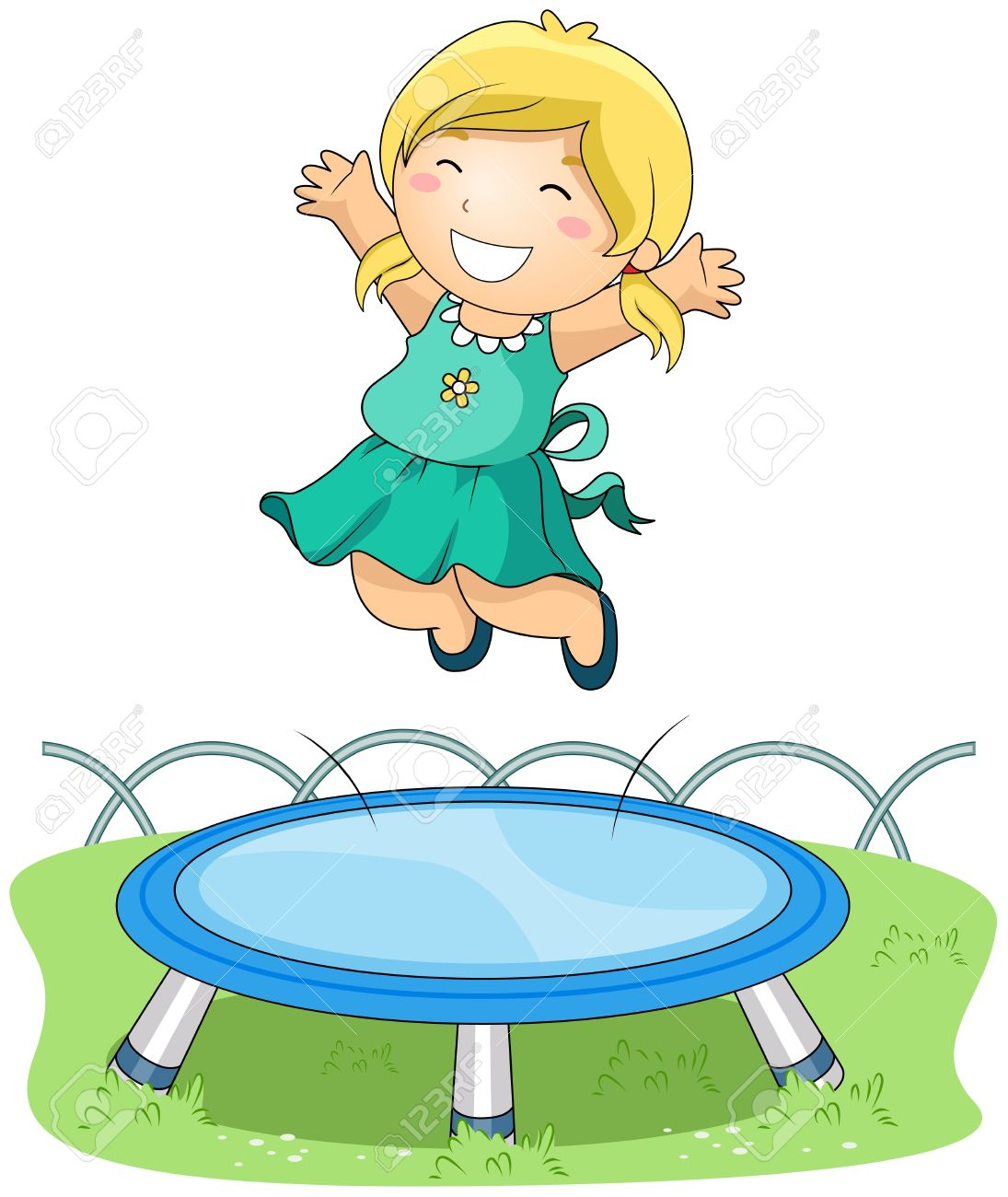 girl jumping on trampoline stock photo picture and royalty free rh 123rf com jumping clipart black and white jumping clip art figure