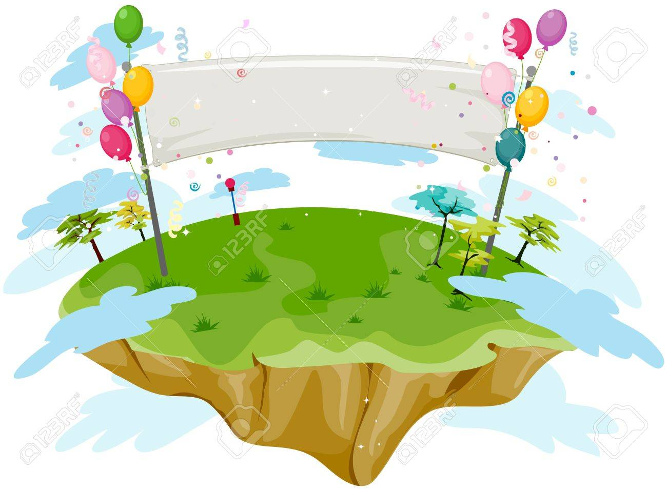 blank birthday banner on a floating island stock photo picture and