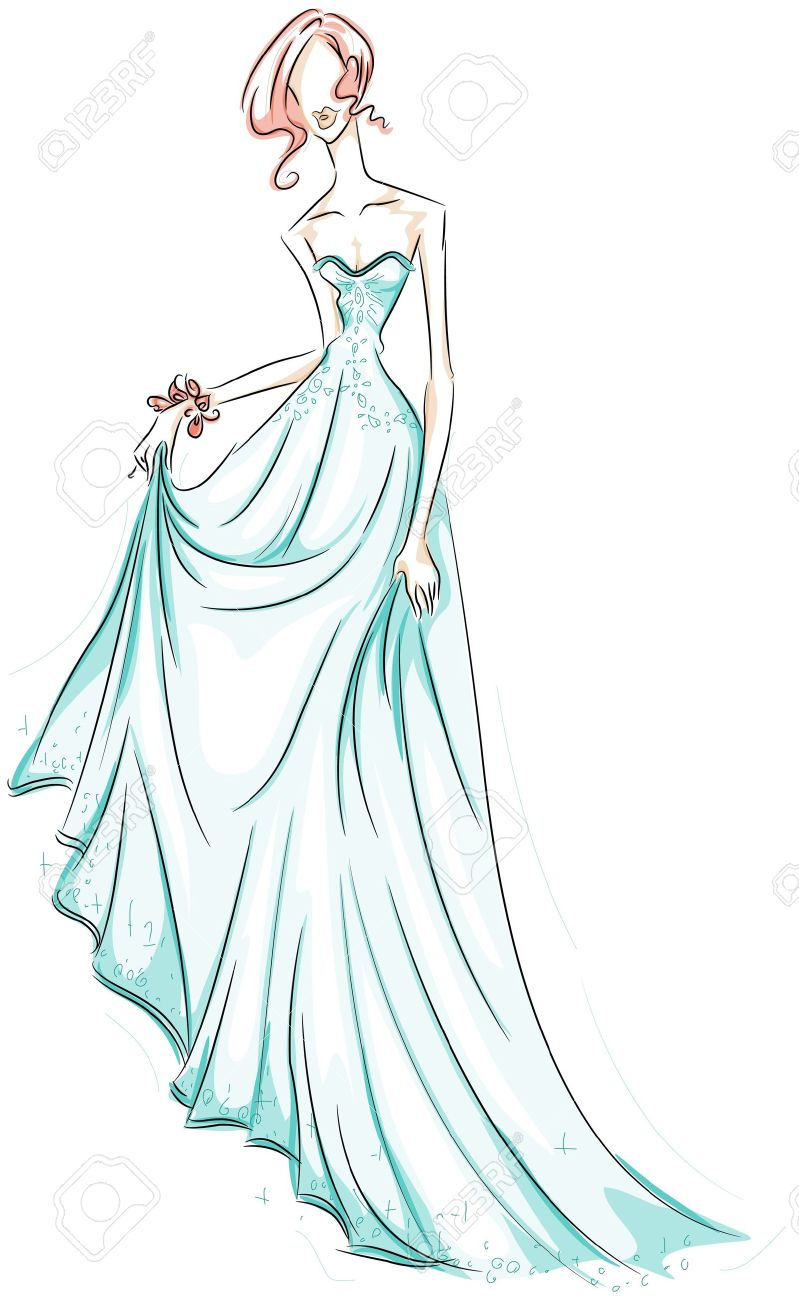 Girl In Gown Sketch Stock Photo, Picture And Royalty Free Image ...