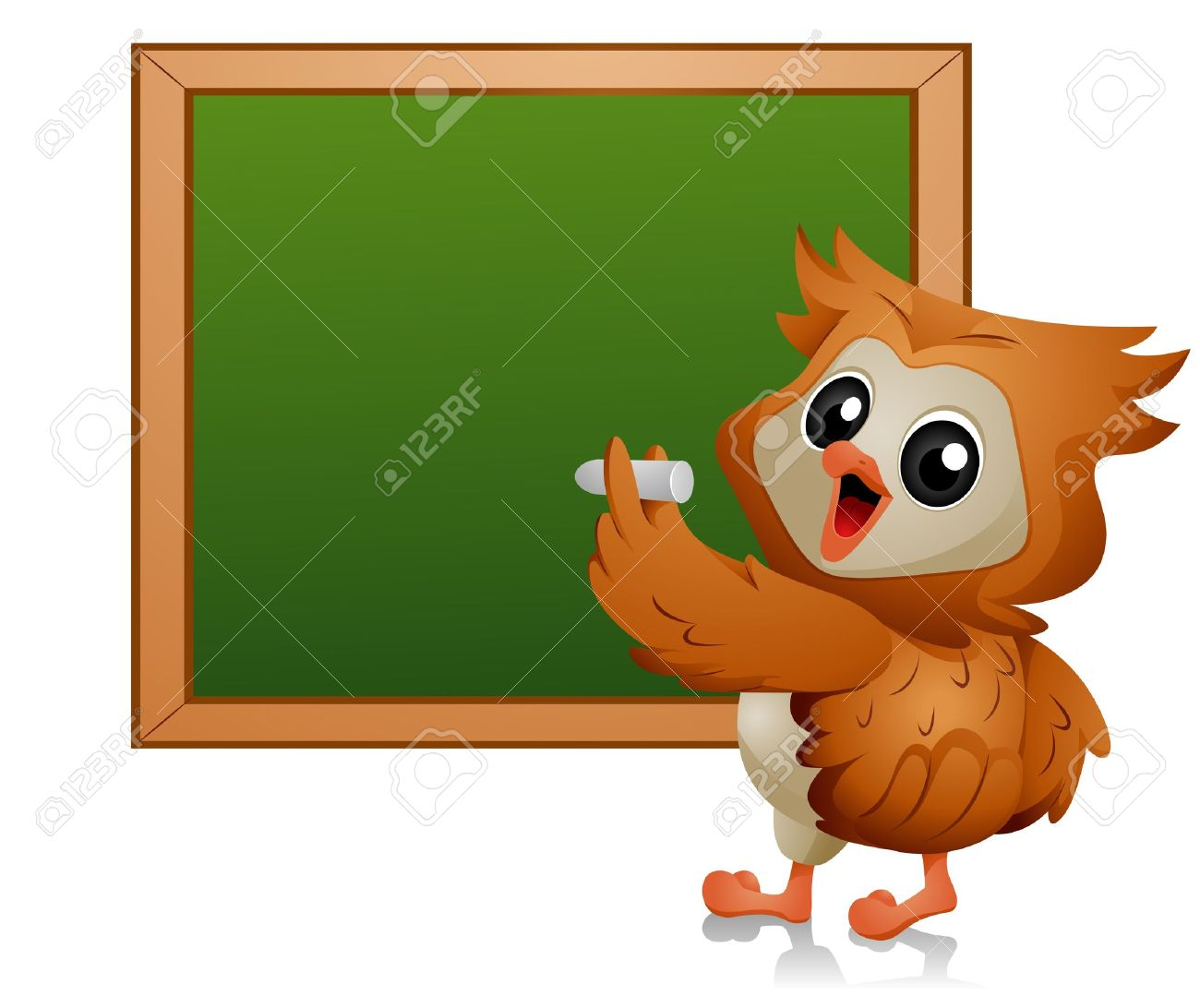 Owl writing on Blackboard Stock Photo - 7701827