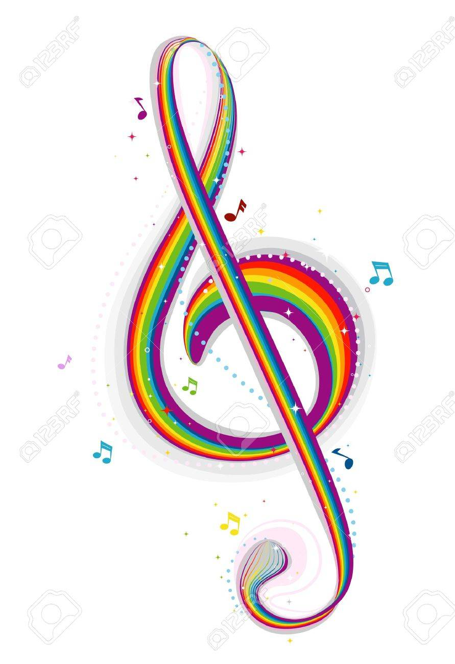Rainbow Colored G Clef Stock Photo - 7701911