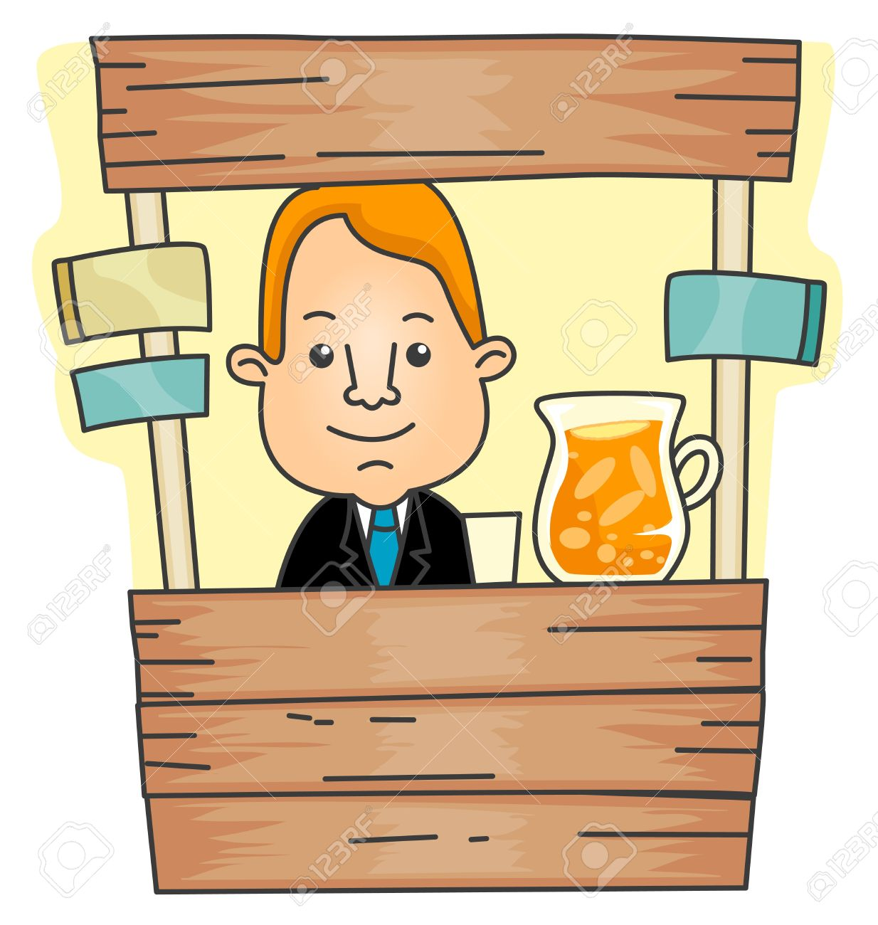 Businessman with Lemonade Stand Stock Photo - 7897466