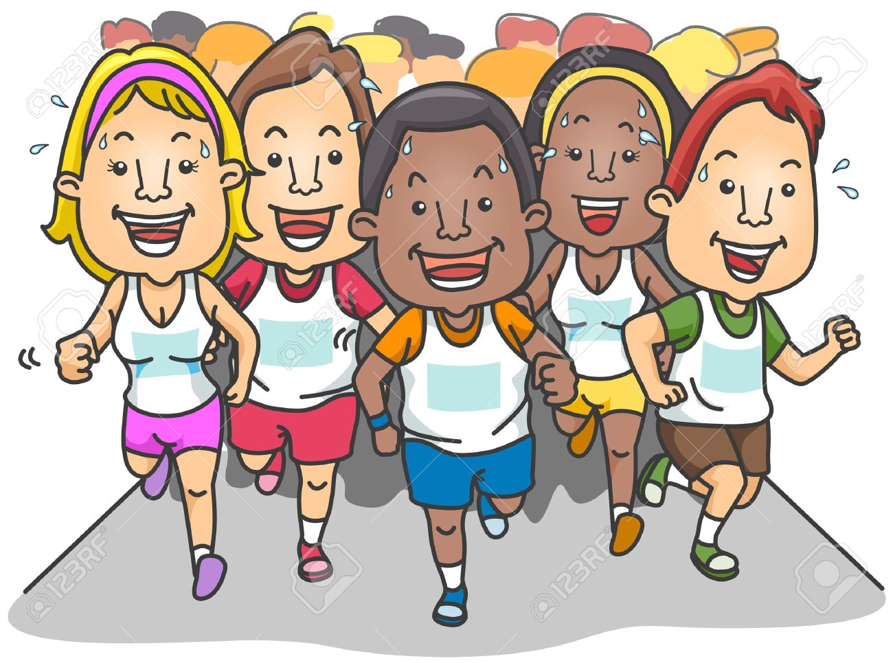 people running a marathon stock photo picture and royalty free rh 123rf com cartoon people running at you Two Cartoon People Running