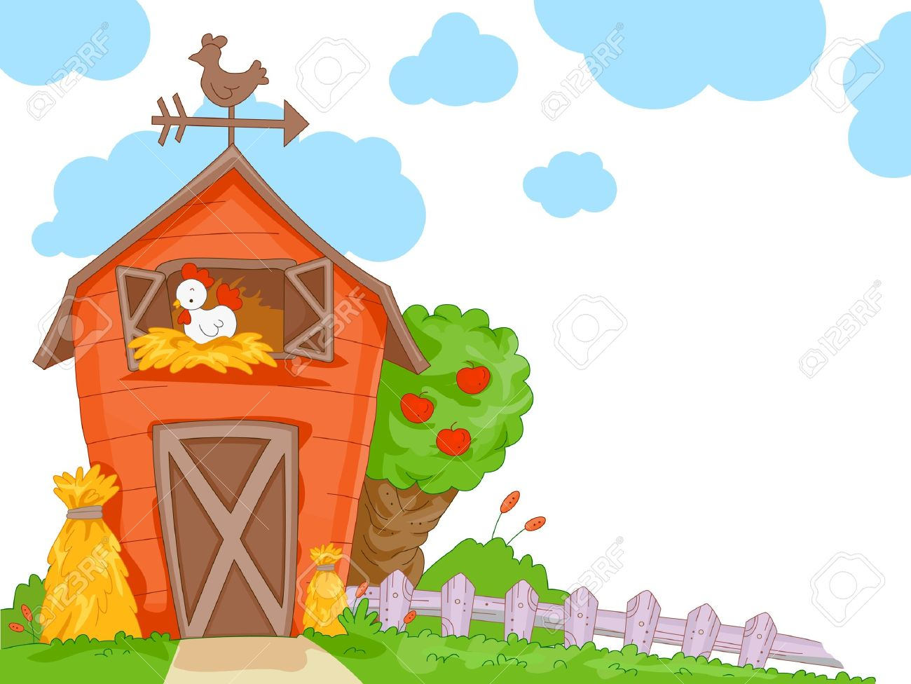 A Cute Barn With Clear View Of The Chicken Nesting Inside For Background Stock Photo