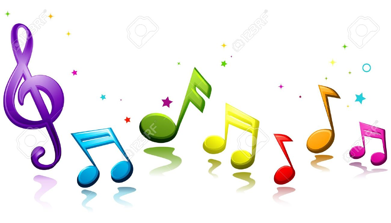 rainbow colored musical notes against white background stock photo