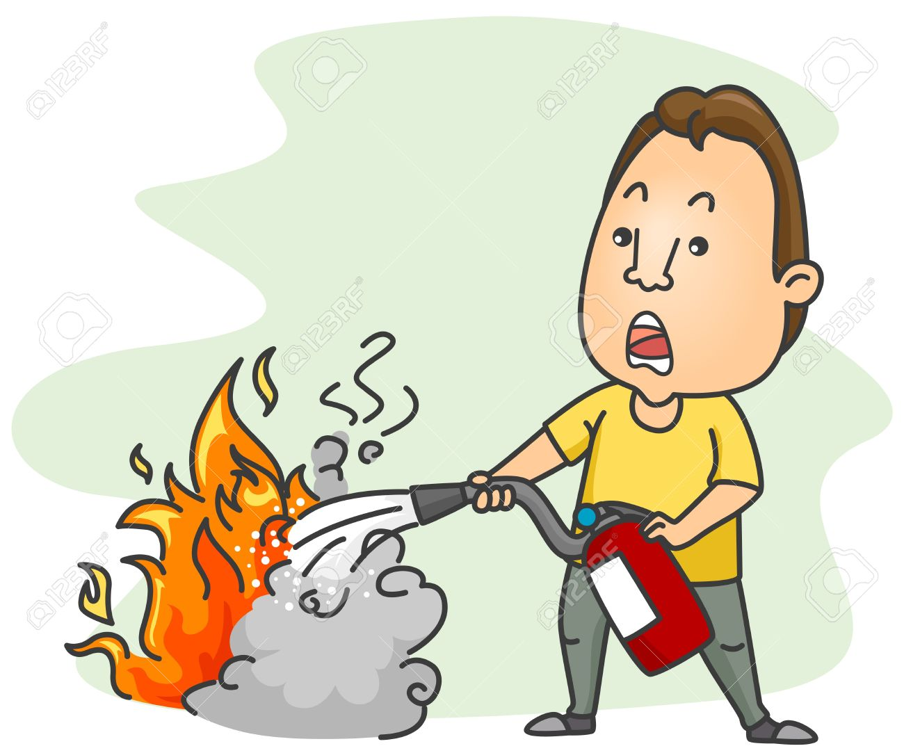 a man putting out a fire using a fire extinguisher stock photo