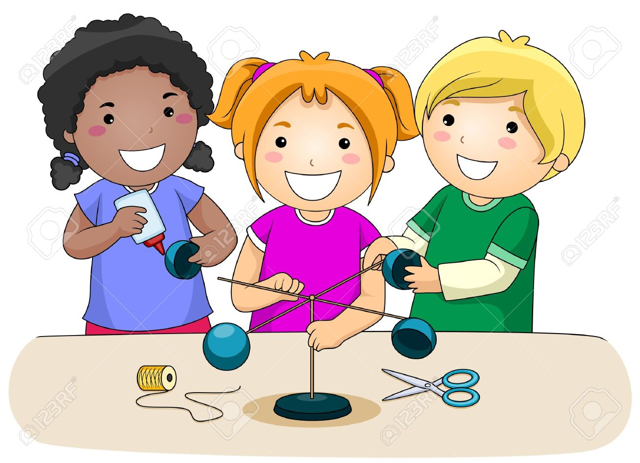 a small group of kids making an anemometer stock photo picture and rh 123rf com small group reading clipart small group work clipart