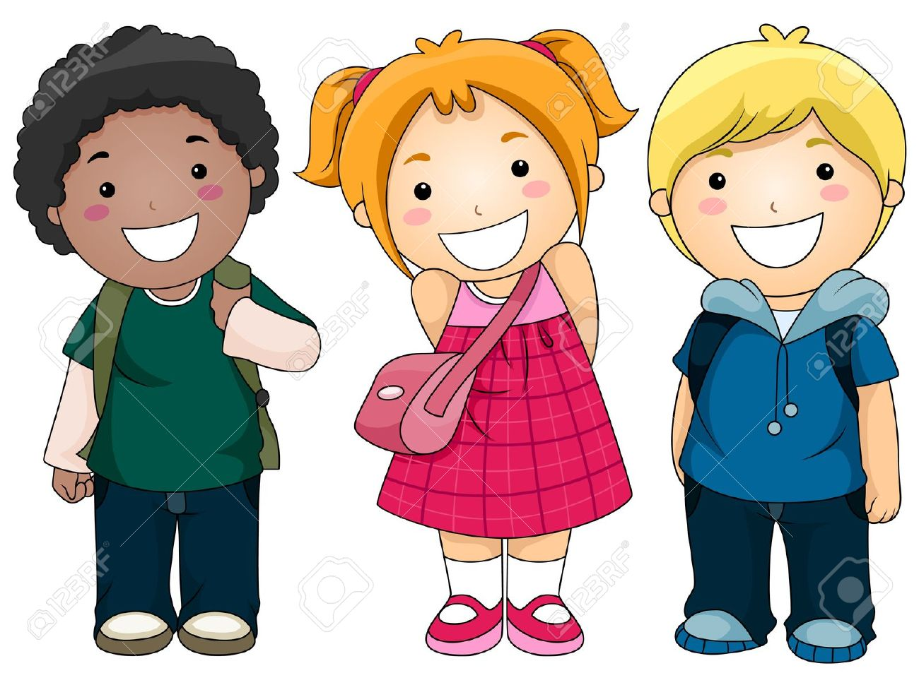 a small group of kids ready to go to school stock photo 8129526 - Pictures Of Small Children