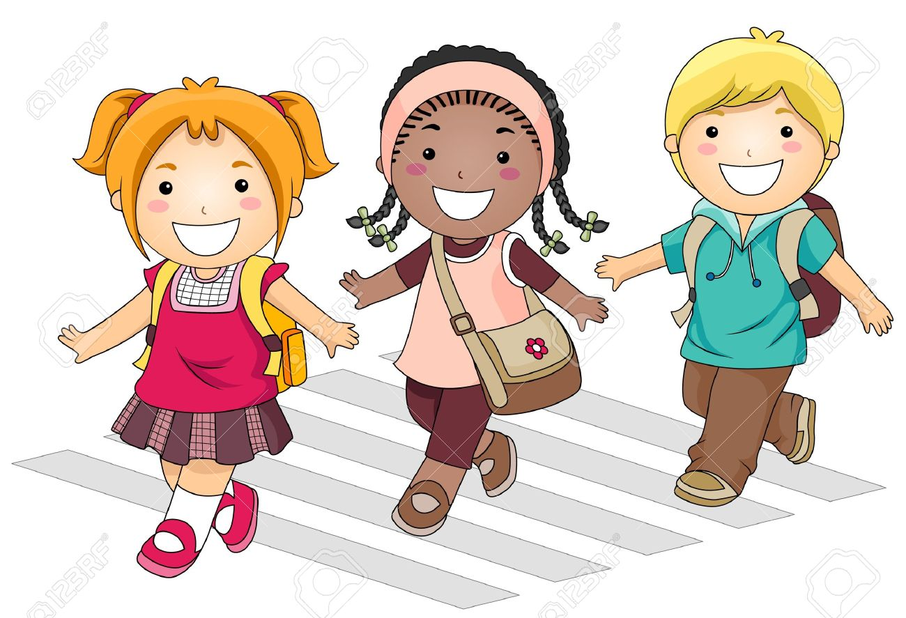 A Small Group Of Kids Crossing The Street Going To School Stock Photo,  Picture And Royalty Free Image. Image 8129527.