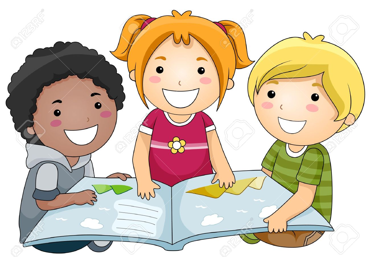 a small group of kids reading a book stock photo, picture and