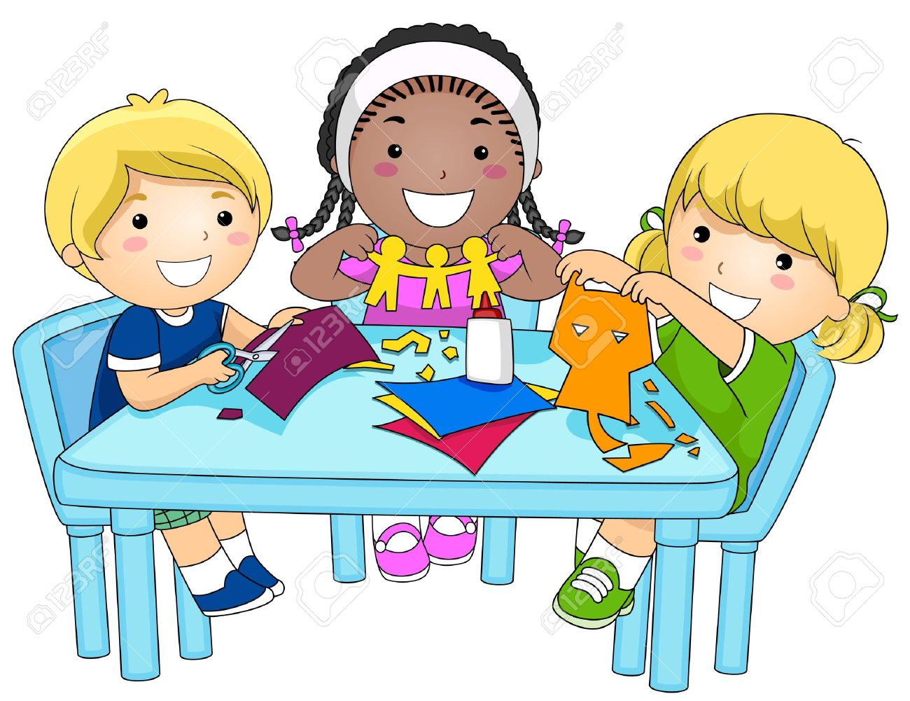 a small group of kids making paper cutouts stock photo picture and rh 123rf com small group instruction clipart small group work clipart