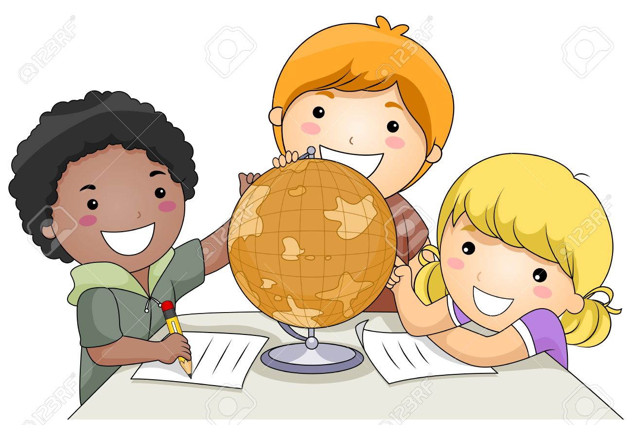 a small group of kids studying a globe stock photo 8129514 - Cartoon Image Of Children