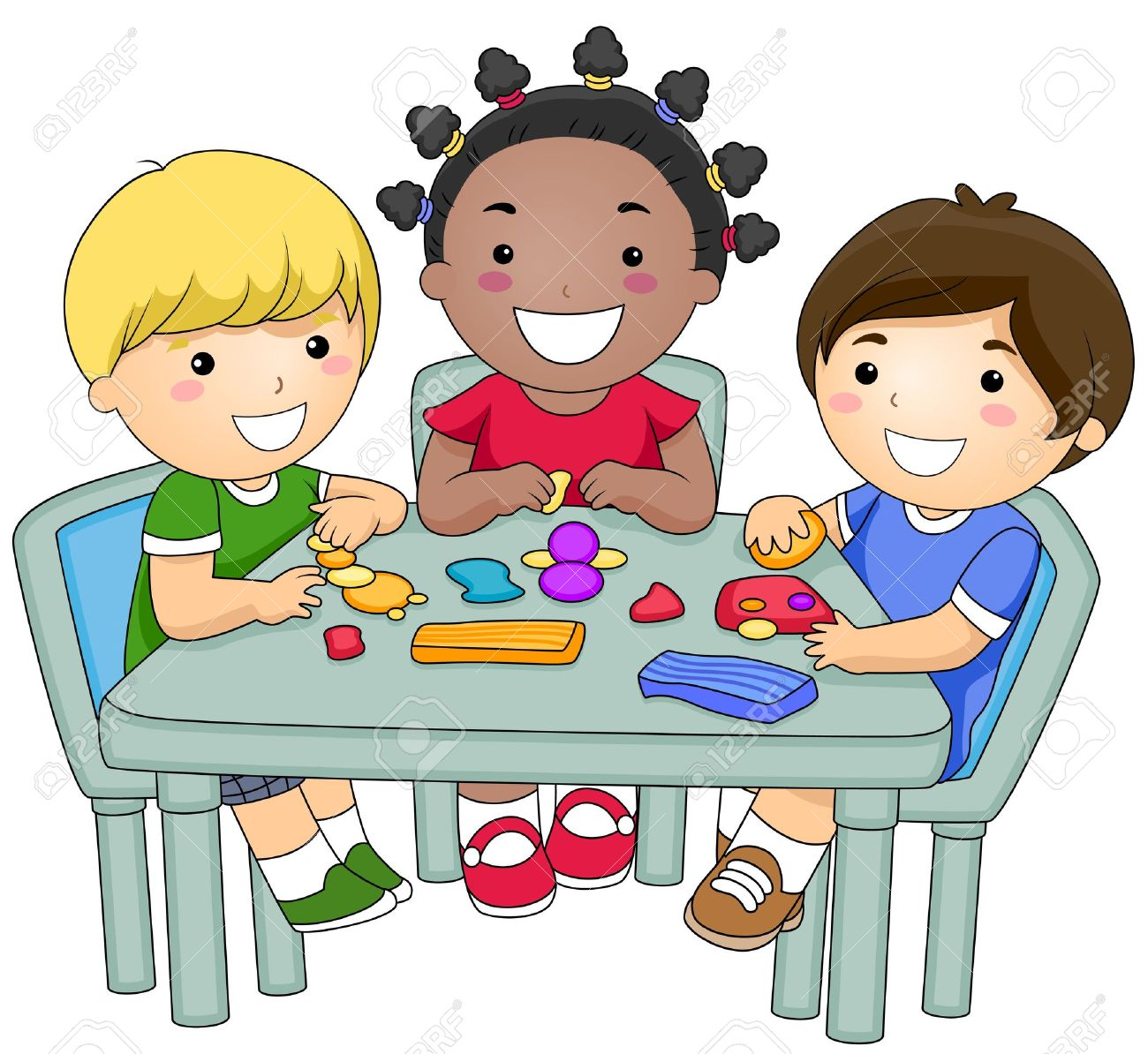 a small group of kids creating different figures from clay stock rh 123rf com small group reading clipart teacher small group clipart