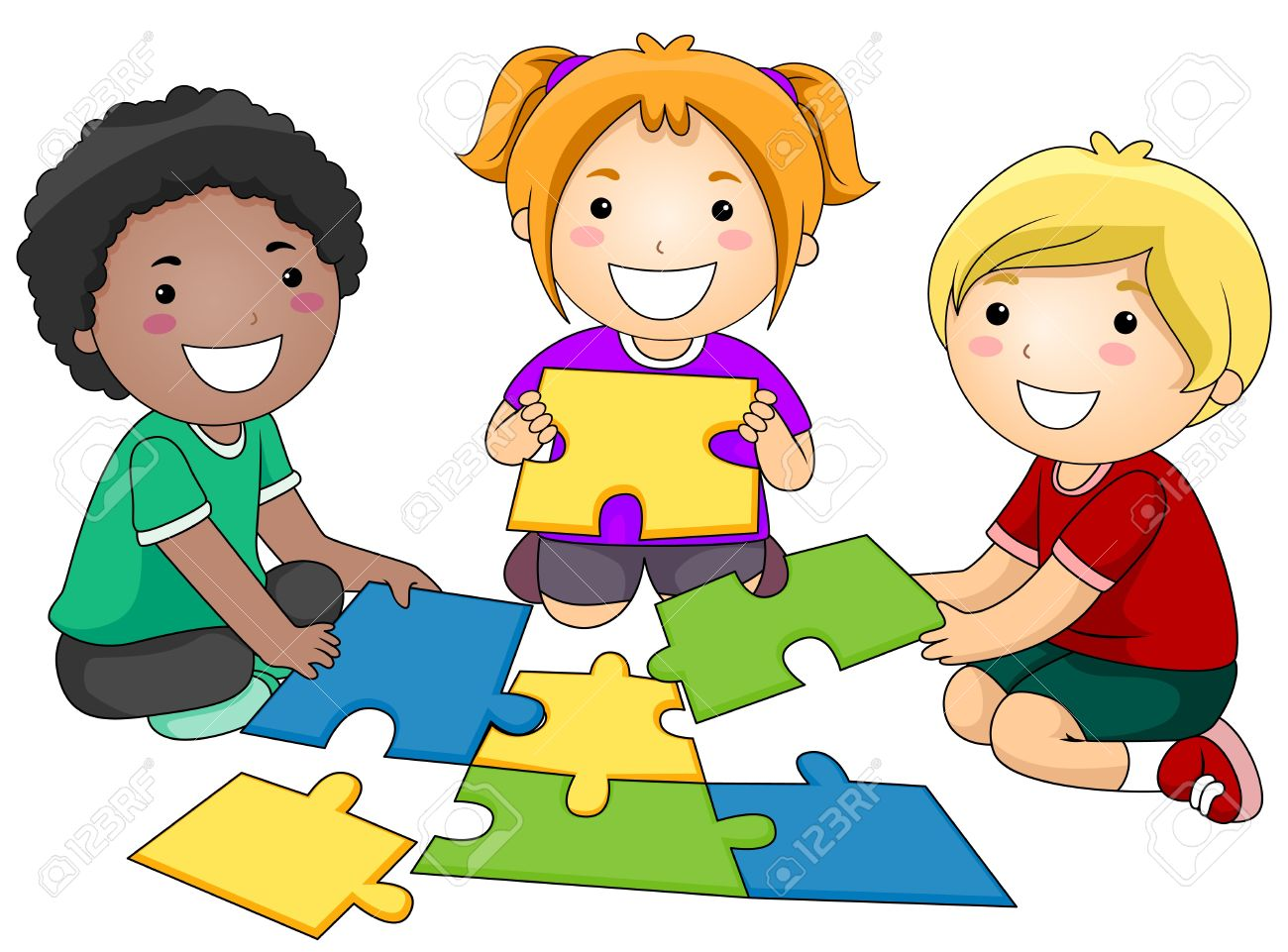 a small group of kids re constructing a jigsaw puzzle stock photo rh 123rf com small group instruction clipart