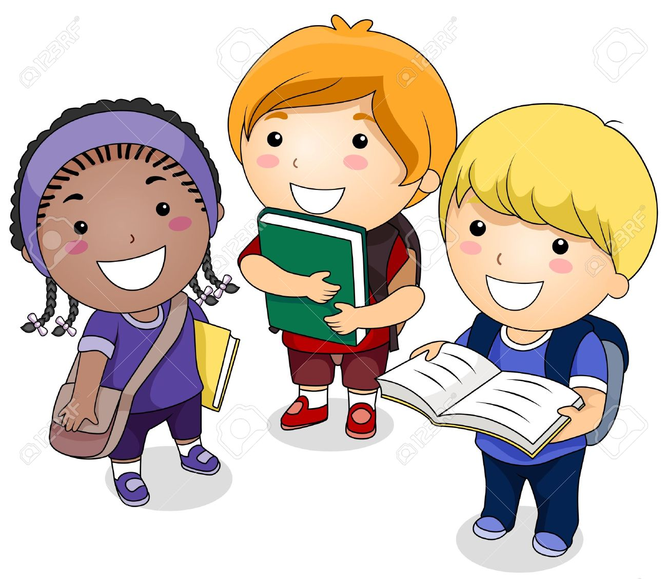 student cartoon a small group of students carrying books - Cartoon Picture Of Child