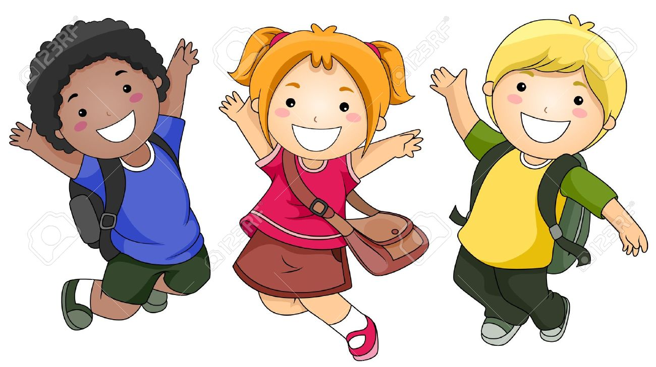 cartoon kids a small group of kids jumping happily - Cartoon Children Pictures