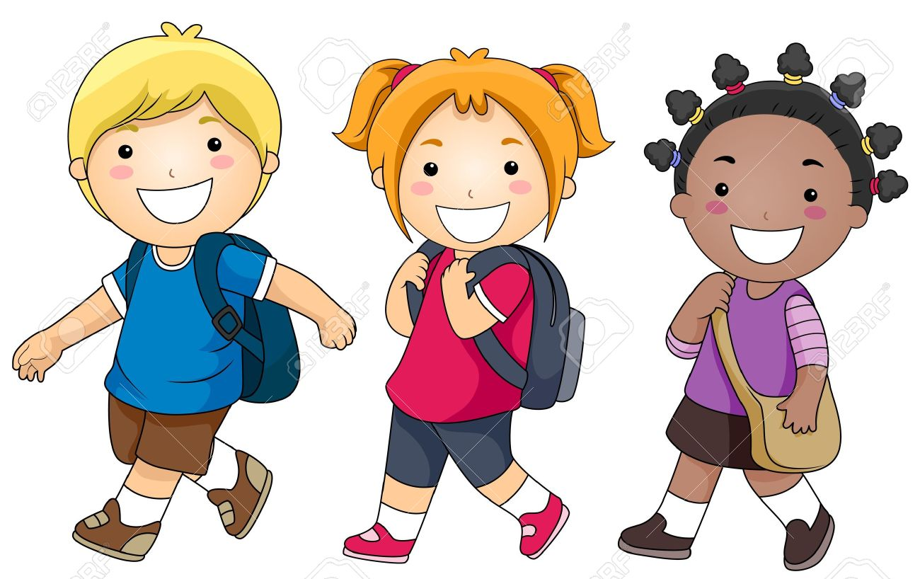 a small group of kids walking to school stock photo, picture and