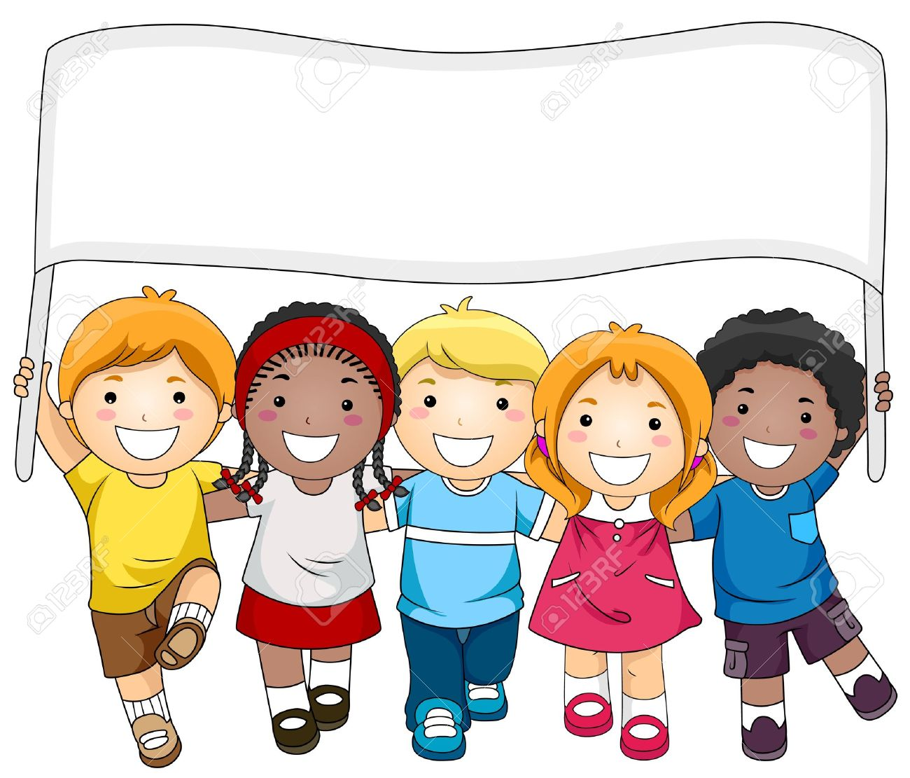 a small group of kids marching while carrying a banner stock photo rh 123rf com