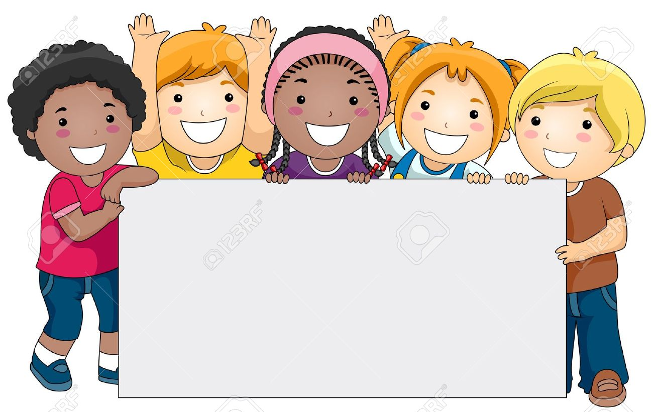 kids with a blank board against white background stock photo
